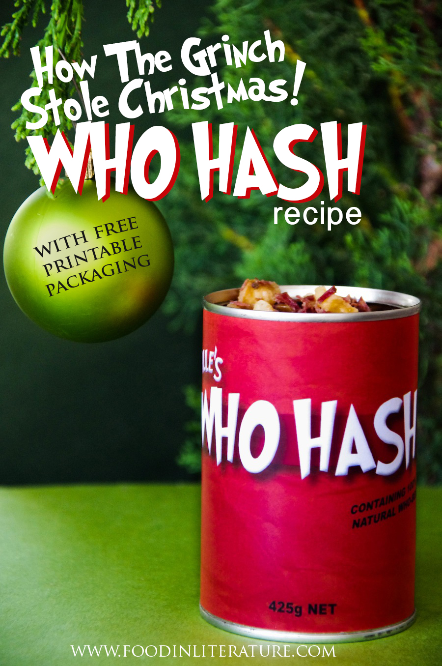 Theme up your dinner in December for your family, and make this quick and easy Who Hash recipe (it even uses leftovers!). With free printable packaging, your family will feel like they're in Whoville.
