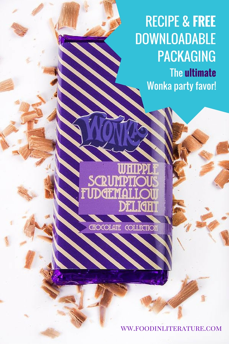 The decedant chocolate bar, Wonka's Fudgemallow Delight Chocolate Bar, that Charlie was given for his birthday? You can now make it for your own birthday party as a favor or as part of a Wonka gift. We've even included free printable packaging to make it easier!