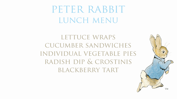 Peter Rabbit Themed Easter Table; Concept Art and Menu