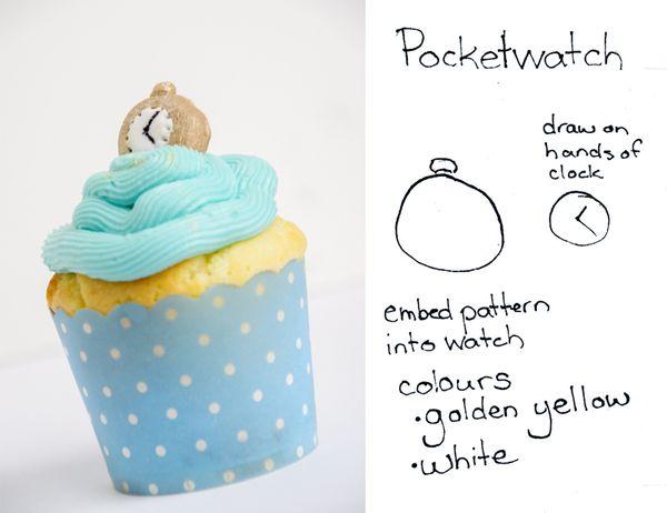 Alice in Wonderland Cupcakes Pocketwatch