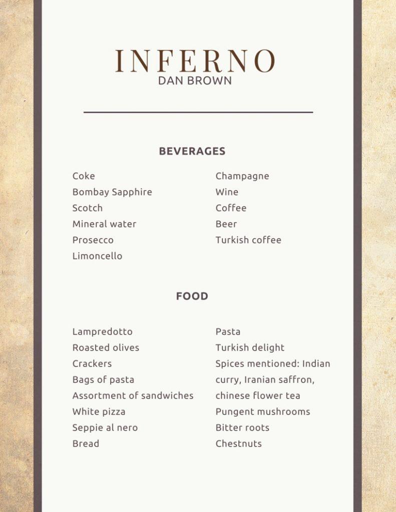 Printable menu for Inferno by Dan Brown | Food in Literature