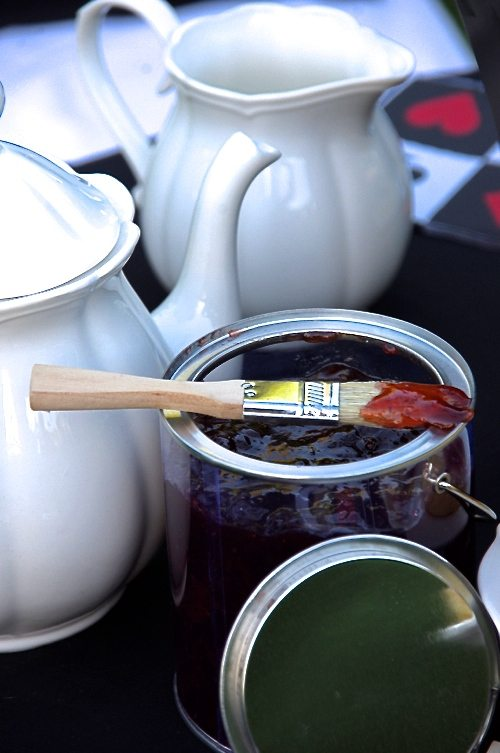 Alice in Wonderland paint can with raspberry jam and pastry brush for tea party via BrytonTaylor.com