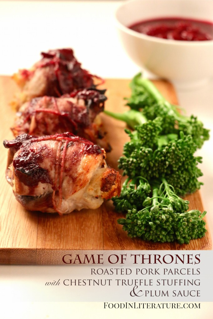 Theme up your dinner or make these as part of your Game of Thrones party menu. The Chestnut Truffle stuffing is to die for!