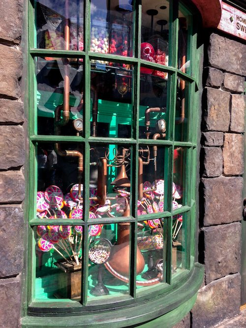 Honeydukes Window Shopping at The Wizarding World of Harry Potter via BrytonTaylor.com