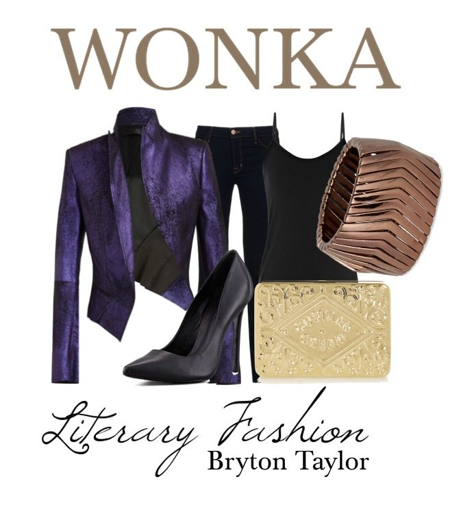 wonka literary fashion purple jacket, gold ticket style clutch, chocolate coloured bangle, black pants tops heels