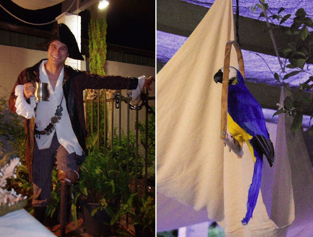 Long John Silver and parrot for Treasure Island pirate party