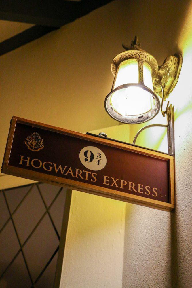 harry potter hogwarts dinner party- how to make 9 3/4 and hogwarts express signage