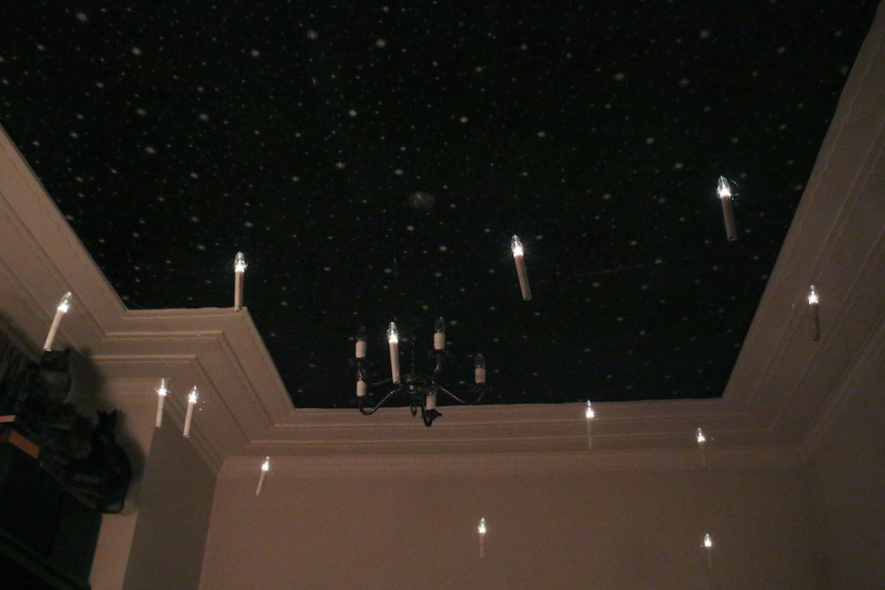 harry potter hogwarts dinner party-great hall night sky