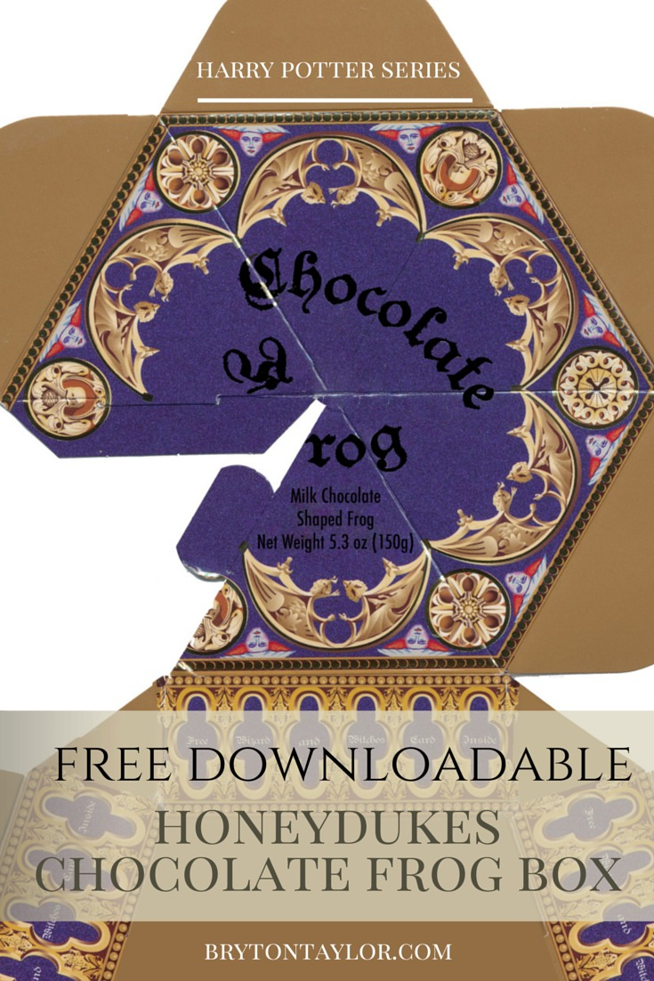 image about Honeydukes Sign Printable titled Chocolate Frog Box Template Harry Potter Hogwarts Meal