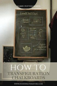 With just some cheap blackboards (or even just black paper!) and some chalk, draw these designs (as seen in the movies) and quickly create a Hogwarts Potions classroom for your Harry Potter party.