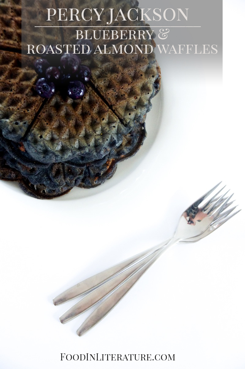 Percy Jackson; Roasted Almond Blueberry Waffles