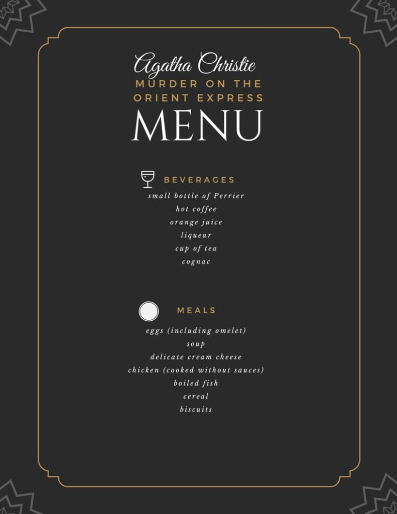 printable Murder on the Orient Express menu | Agatha Christie | Food in Literature