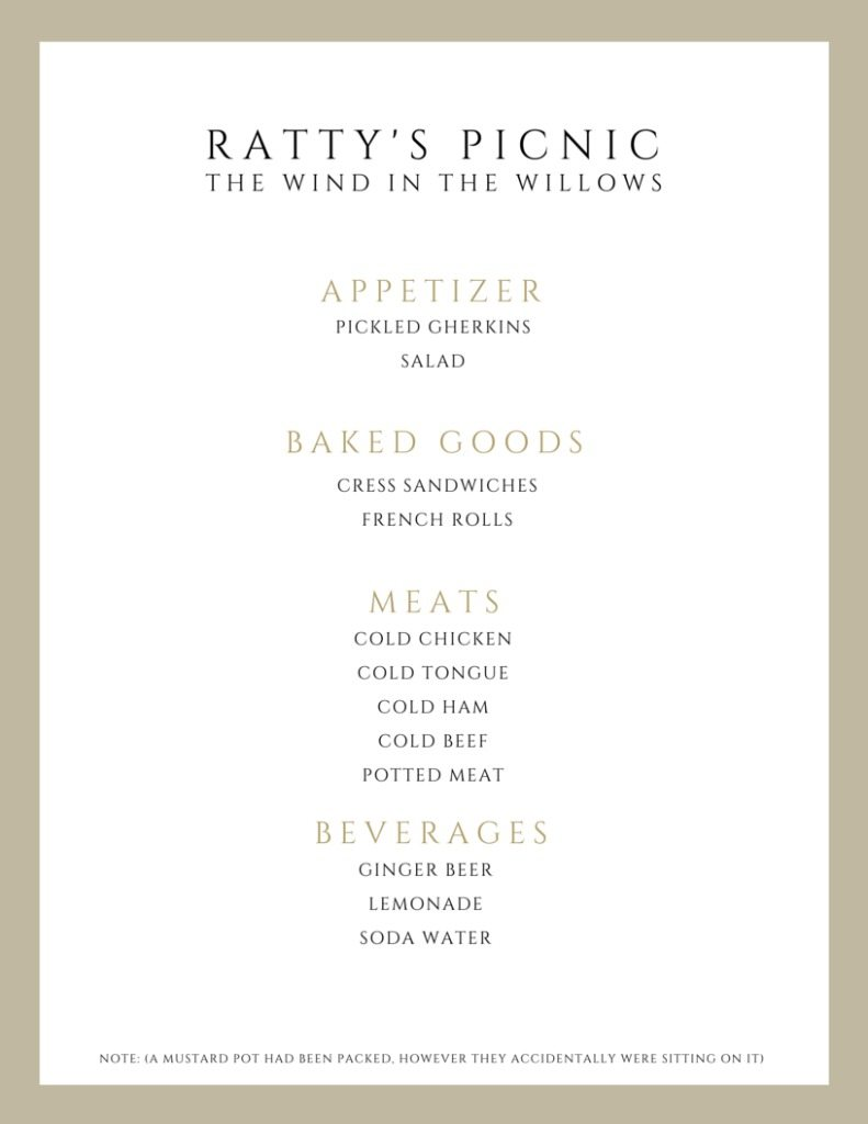 Rattys Picnic Wind in the Willows menu