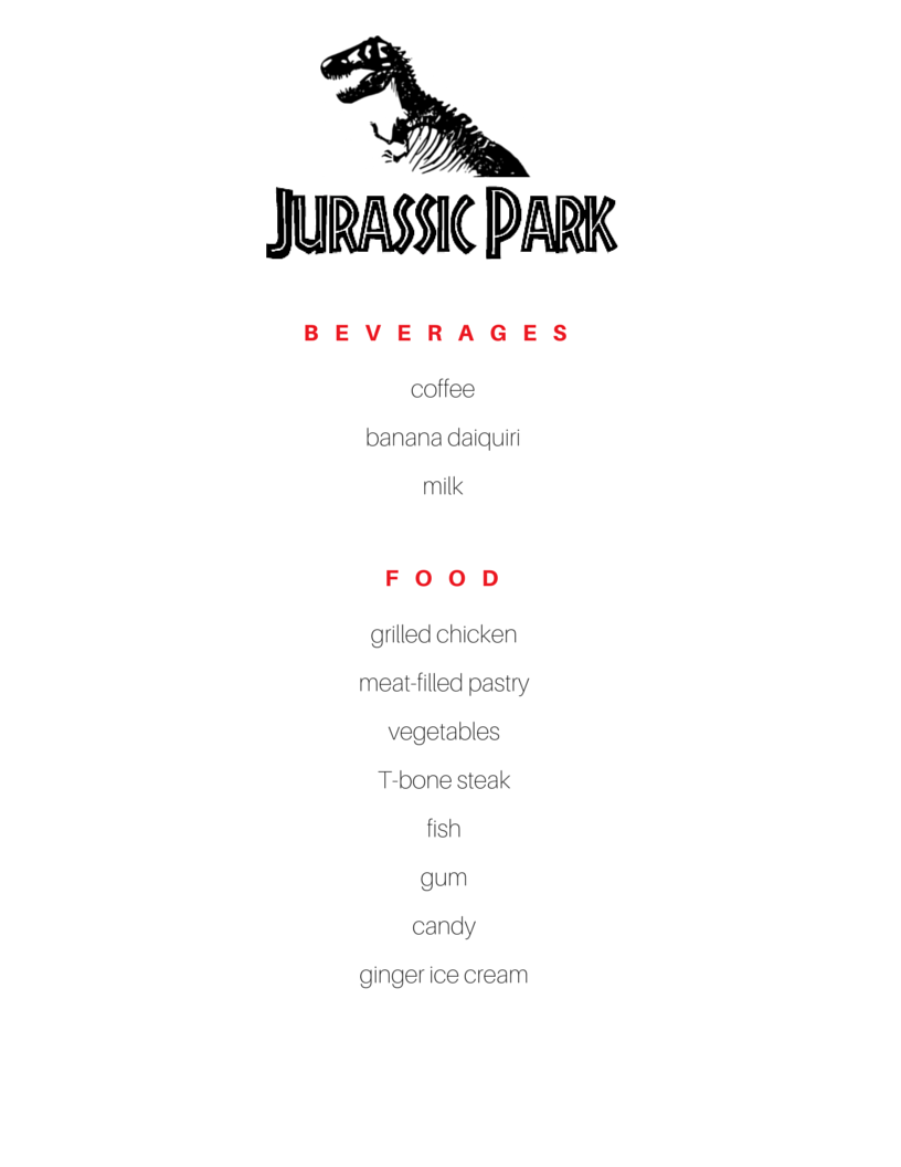Jurassic Park menu | food mentioned in the book | Food in Literature