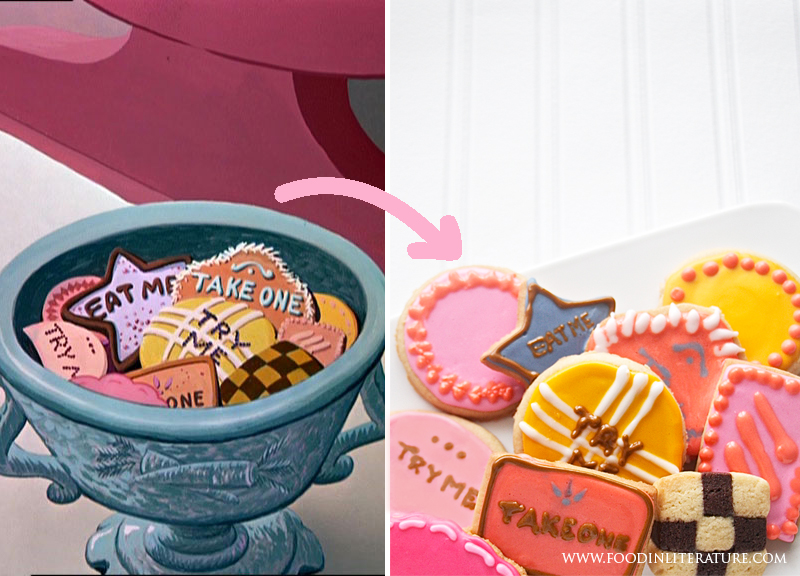 Alice in Wonderland cookie comparison Food in Literature