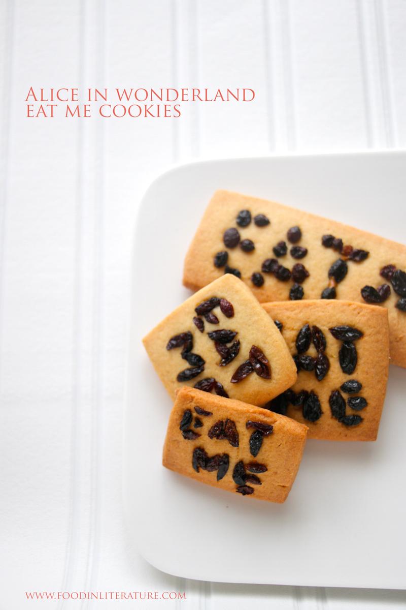Book Inspired Alice in Wonderland Eat Me Cookies Food in Literature