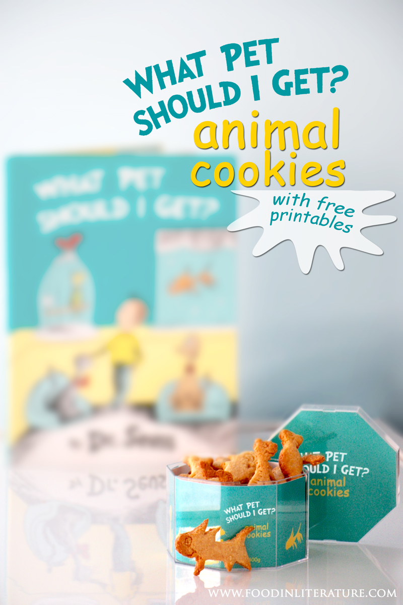 Dr Seuss What Pet Should I Get animal cookies   www.FoodinLiterature.com   simple recipe with make at home cookie cutters. Perfect as a gift or Dr Seuss party favor