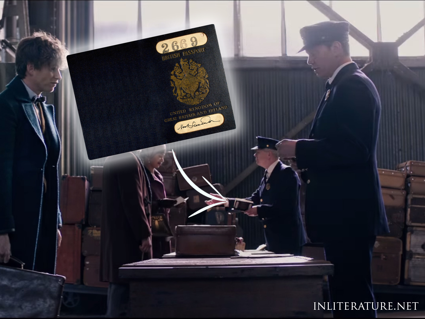 Passport at arrivals in Fantastic Beasts