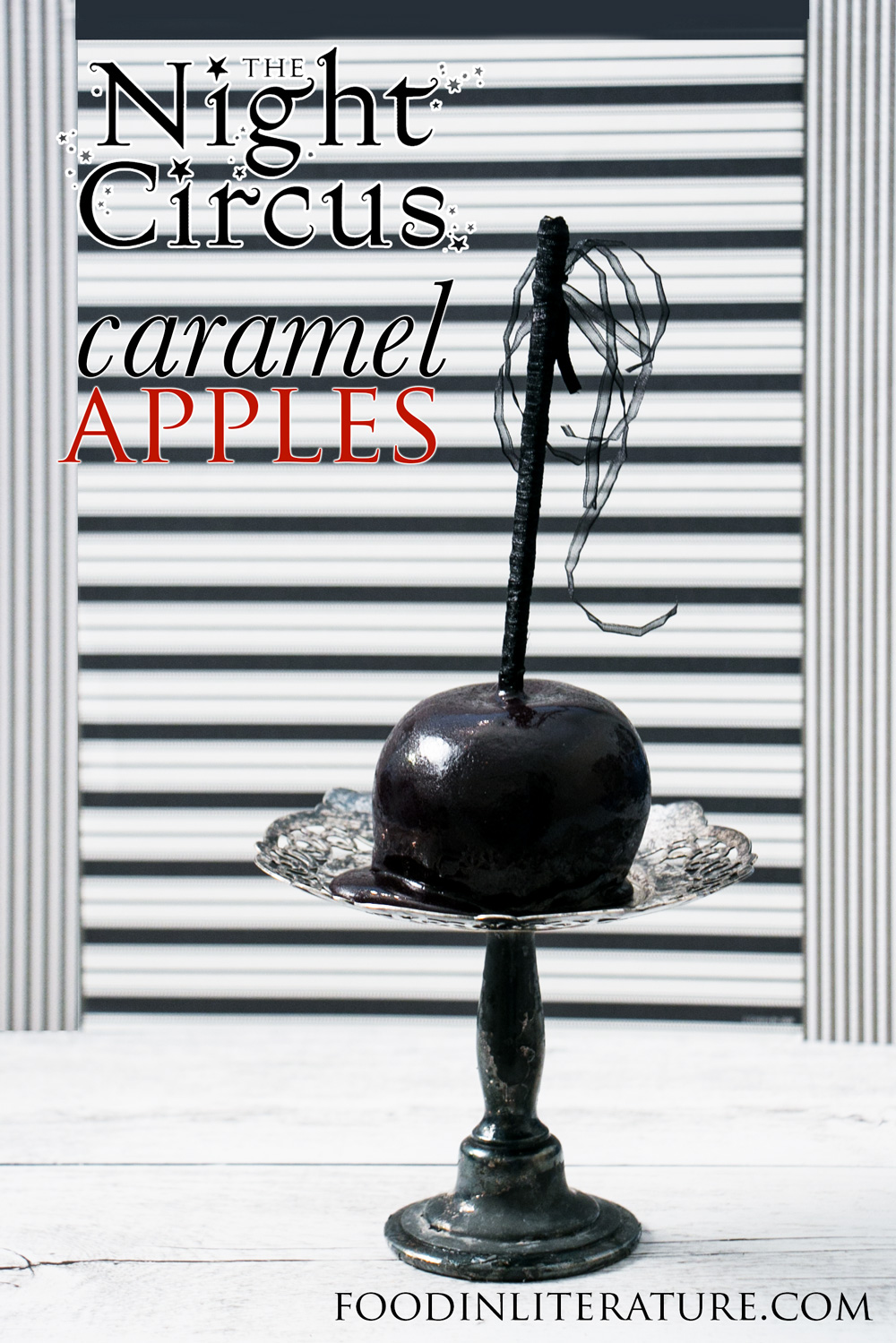 This midnight black caramel apple is the perfect Halloween treat, inspired by the magical book, The Night Circus.