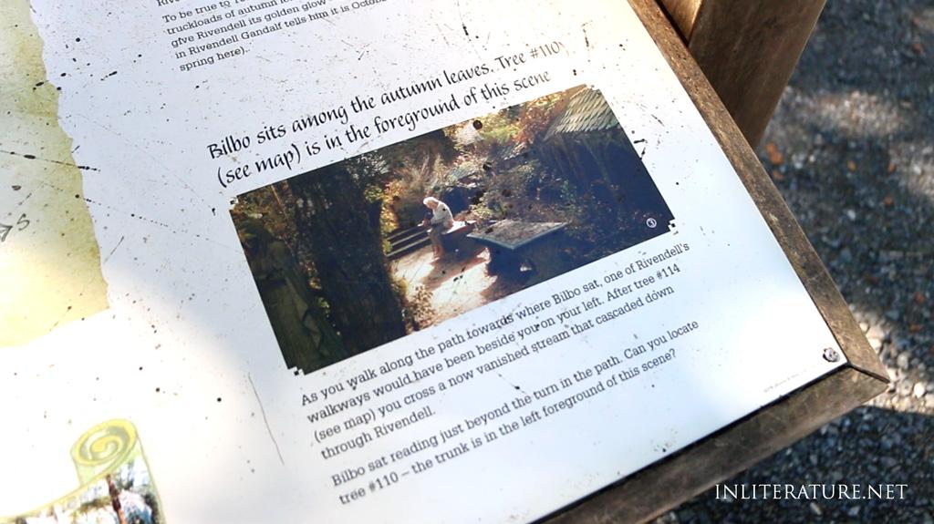Kaitoke Regional Park signage, explaining the scene where Bilbo Baggins sat in Rivendell