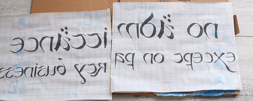print words backwards- DIY literary doormat project